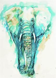 Teal N Turquoise Elephant Painting by Arti Chauhan