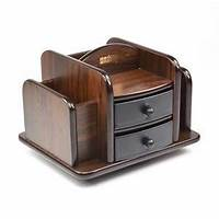 wood desktop organizer Amazon.com : KLOUD City Dark Brown Wood Rotating Desktop Organizer Sorter Stuff Storage Holder ...