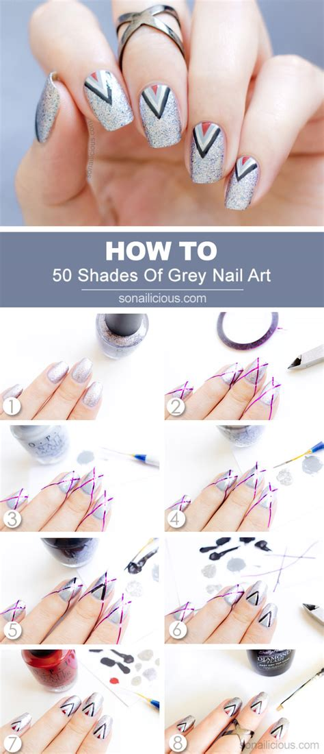 shades  grey nail art tutorial