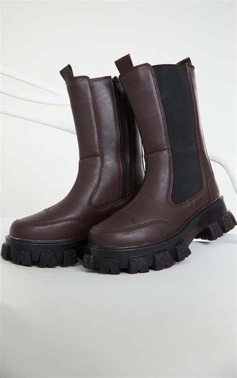 Chocolate Chunky Cleated Calf High Chelsea Boots ...