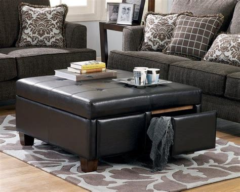 living room ottoman with storage black leather ottoman coffee table with storage