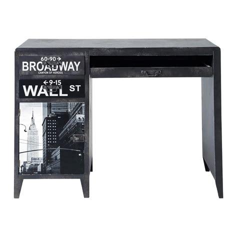 bureau 110 cm bureau indus imprimé en bois noir l 110 cm wall