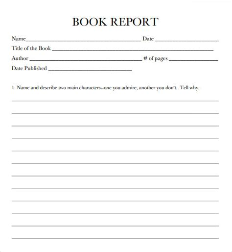 book report templates  samples examples format