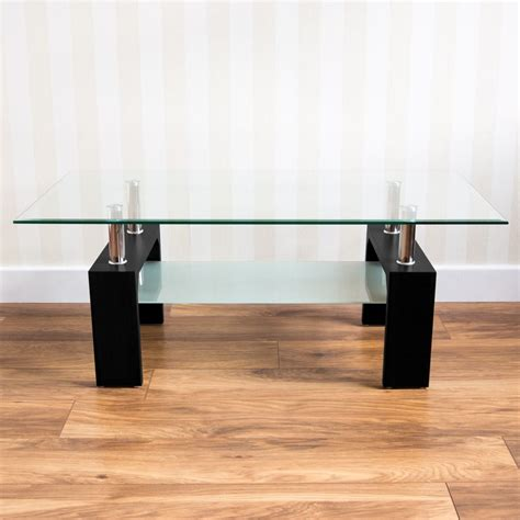 Glass or acrylic stays in the background to let your rugs or accent chairs be the center of attention. Coffee Table Modern Rectangle Oval Glass & Chrome Lower Shelf Living Room   eBay