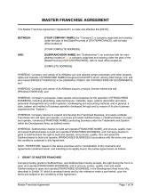 franchise agreement template word   business
