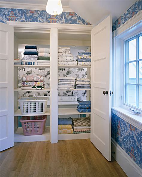pass through linen closet traditional laundry room