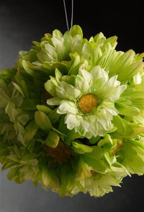 gerbera daisy silk flower ball green