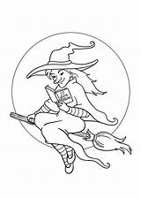 Halloween Pretty Witch Coloring Printable 4kids Coloringpages Holidays Template Printables sketch template