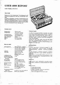 Uher 4000 Report Service Manual Download  Schematics