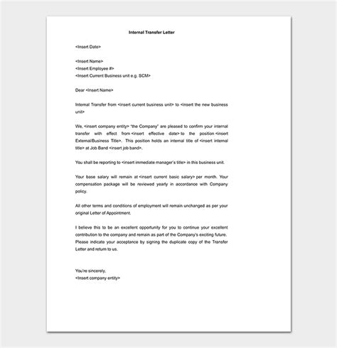 job transfer request letter   write  format