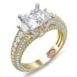 princess wedding rings yellow gold princess cut engagement ring demarco bridal jewelry official