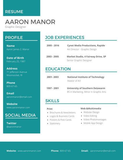 Free Graphic Design Resume Template by Customize 298 Professional Resume Templates Canva