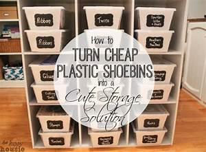 Turn Clear Plastic Shoe Bins into Cute Cheap Storage