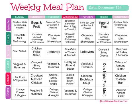 meal plan dec 15 sublime reflection