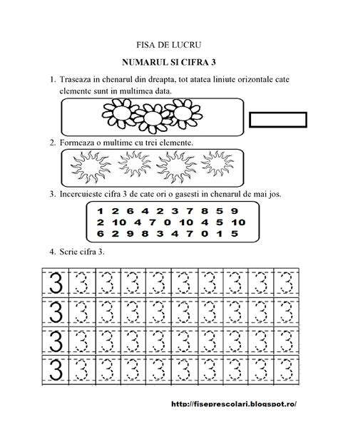 set de fise cu cifre punctate de la  la  gradinita