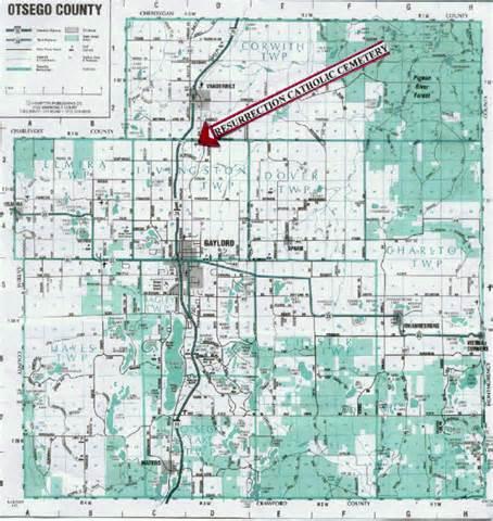 Otsego County Michigan Road Map