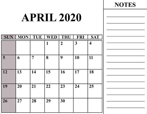 blank april  calendar printable   word