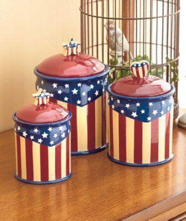 Amazon.com: Set of 3 Americana Canister Jar Set Red White