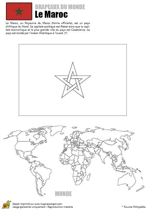 coloriage monde drapeau maroc