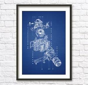 Slr Camera Schematic Diagram Blueprint Patent Wall Art Poster