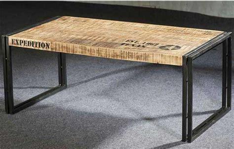 table basse longue style industriel