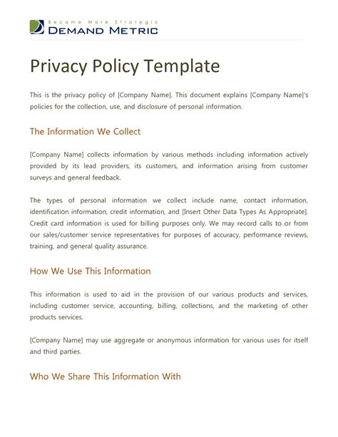 website privacy policy template best photos of privacy policy template website privacy 8 privacy policy templates free sles