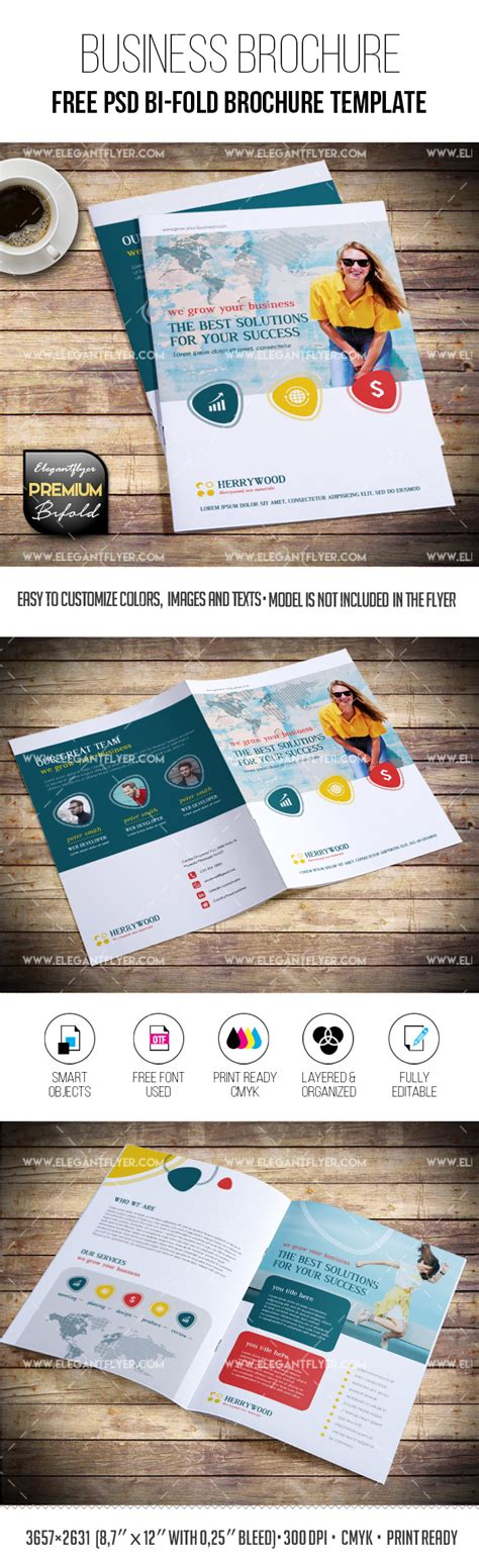 Free Multipurpose Brochure In Psd By Elegantflyer Free Bi Fold Brochure Psd Template By Elegantflyer