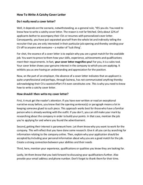 write  catchy cover letter template included