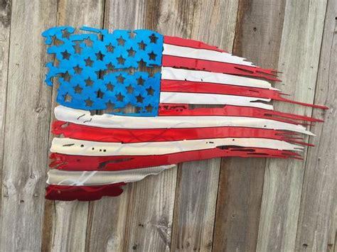 tattered  torn american flag metal art advanced metal art