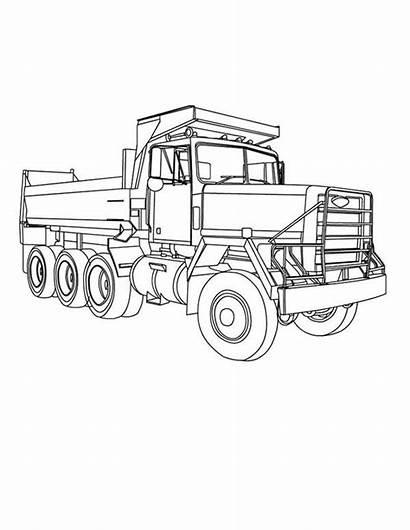 Dump Coloring Truck Axle Three Trucks