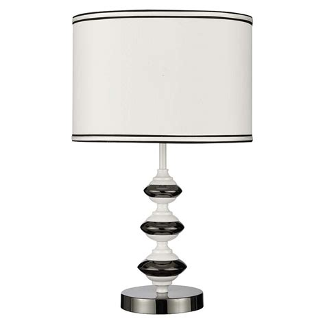 white table l shade 1391wh white and black chrome table l white drum