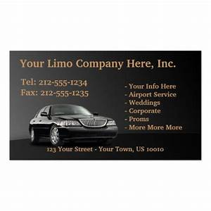 Customizable limousine business cards zazzle for Limo business cards