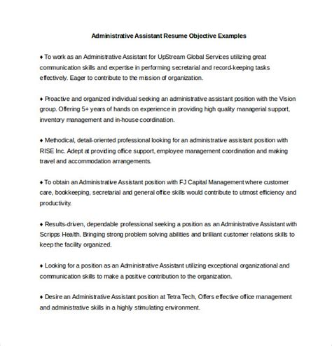 Objective Resume Exles Administrative Assistant by Administrative Assistant Resume Template 12 Free Word Excel Pdf Documents Free