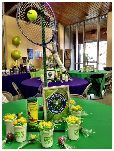 tennis themed centerpieces   baez party productions  pinterest centerpieces