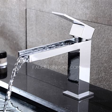 cool square shaped long waterfall spout bathroom sink