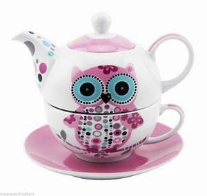 Owl Tea For One China Teapot Cup Saucer Set Pink White