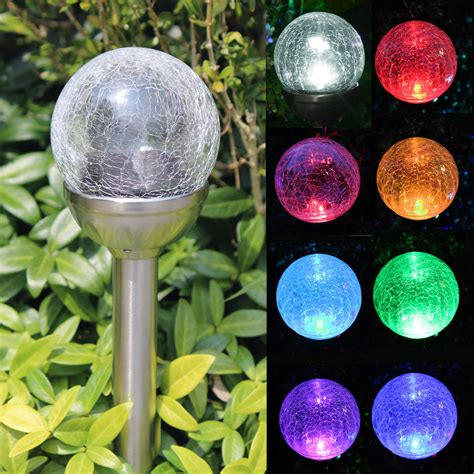 colored solar lights crackle glass solar stainless steel path lights color