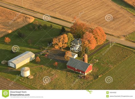 aerial view  small farm stock photography image