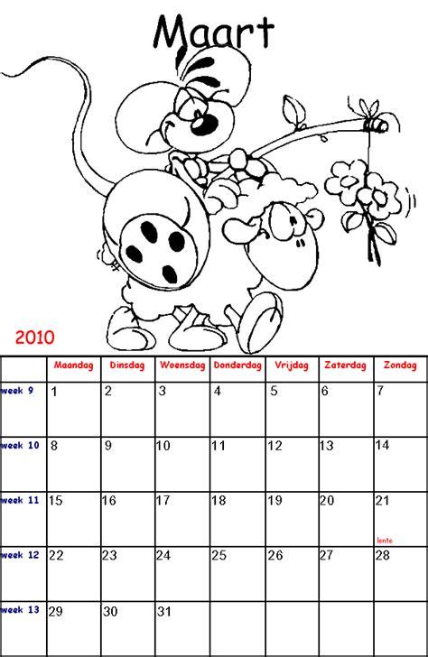 Kleurplaat Kalender Maart by Diddl Kalender Kinder Kleurplaten