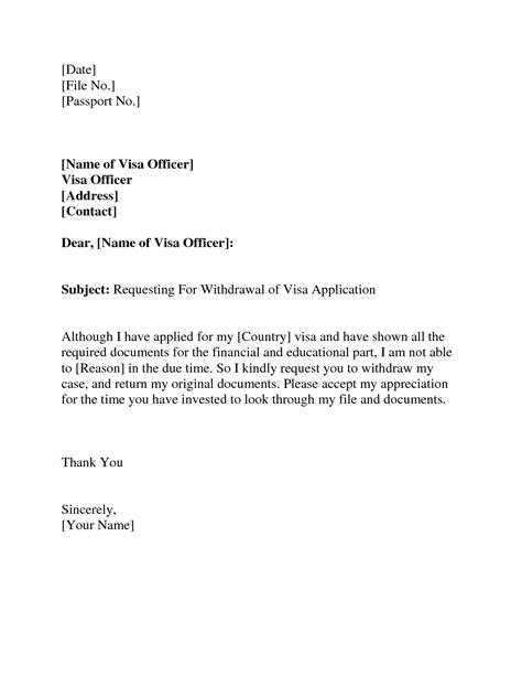 visa withdrawal letter request letter format letter and emailvisa invitation letter to a friend