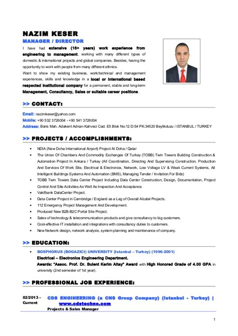 cv resume nazim keser manager director