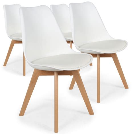 lot de chaise chaises scandinaves ericka blanc lot de 4 pas cher