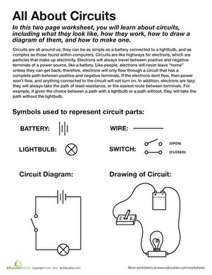 4th grade science circuit worksheets all about circuits worksheet education
