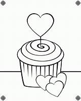 Cupcake Coloring Pages Cupcakes Birthday Cute Drawing Heart Line Screen Print Clipart Icolor Waving August Sprinkles Printing Paste Eat Designs sketch template
