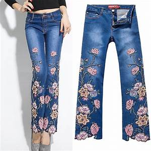 Aliexpress.com  Buy Summer Fall Designer Womens Embroidery Flower Rose Beading Flare Stretch ...