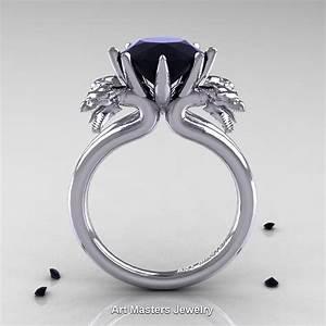 norwegian 14k white gold 30 carat black diamond dragon With dragon wedding ring
