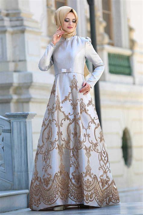 neva style beige hijab evening dress bej