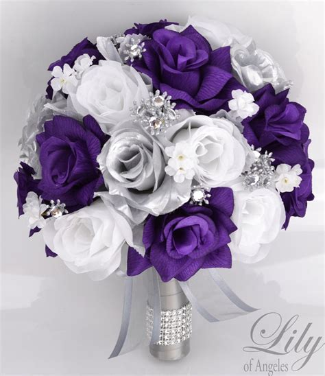 17 Piece Package Silk Flower Wedding Bridal Bouquets Sets
