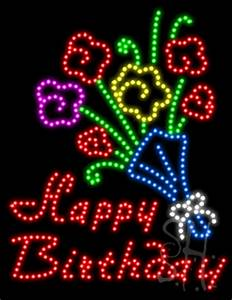 Purple Happy Birthday Sign Happy Birthday Vert Animated Led Sign Holiday Special