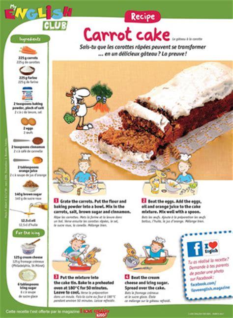 recette de cuisine en anglais recette facile en anglais le carrot cake i